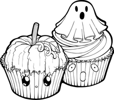 Desserties | Halloween Cupcakes Lineart by Chibivi-Linearts