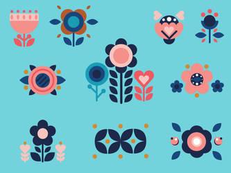 Set Of Folk Flowers by adepressedcake