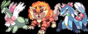Mega Evoultions of the pokemon Beta starters by Phatmon