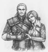 Geralt and Triss Merigold by NastyaSkaya