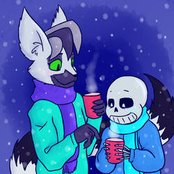 LC and Sans with hot chocolate by lemurcat