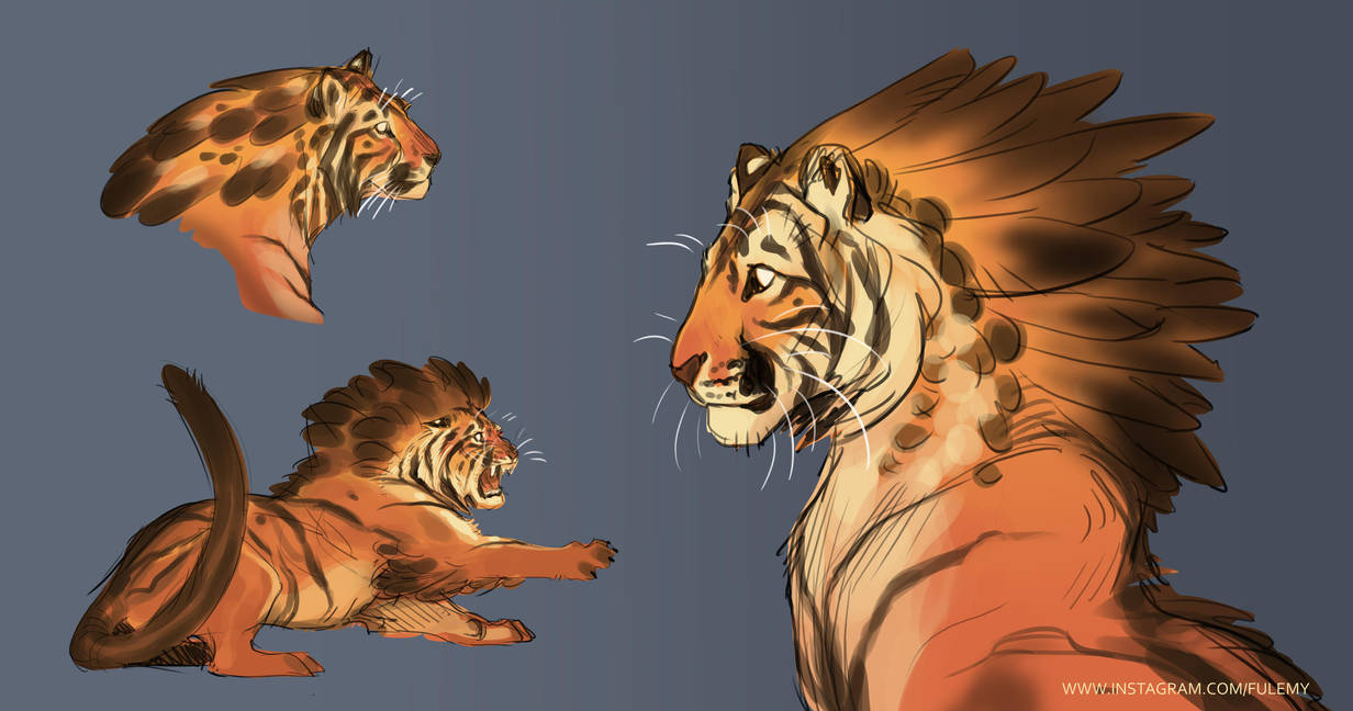 Red Crested Tiger Sketch - Original Character by Fulemy