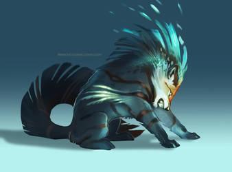 Inktober Redraw 1 - Striped Wolf by Fulemy