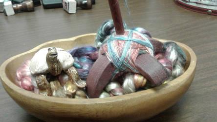 Spinning mulberry silk by Elizabethjunean