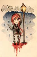 Chibi Cherry Pau in the rain by Nasuki100