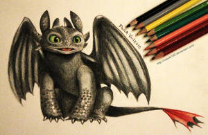 Toothless - color pencils by Nasuki100