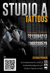 Flyer Studio A tattoos La Plata Buenos Aires by Facundo-Pereyra