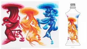 Art Water Label-Drops of Fish by KaeMcSpadden
