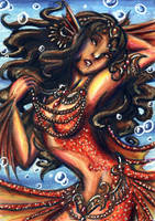 ACEO-Crimson Mermaid by KaeMcSpadden