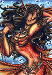 ACEO-Crimson Mermaid by KaeMcSpadden