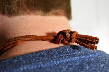 Valknut Leather Necklace-detail back by Cypress-626