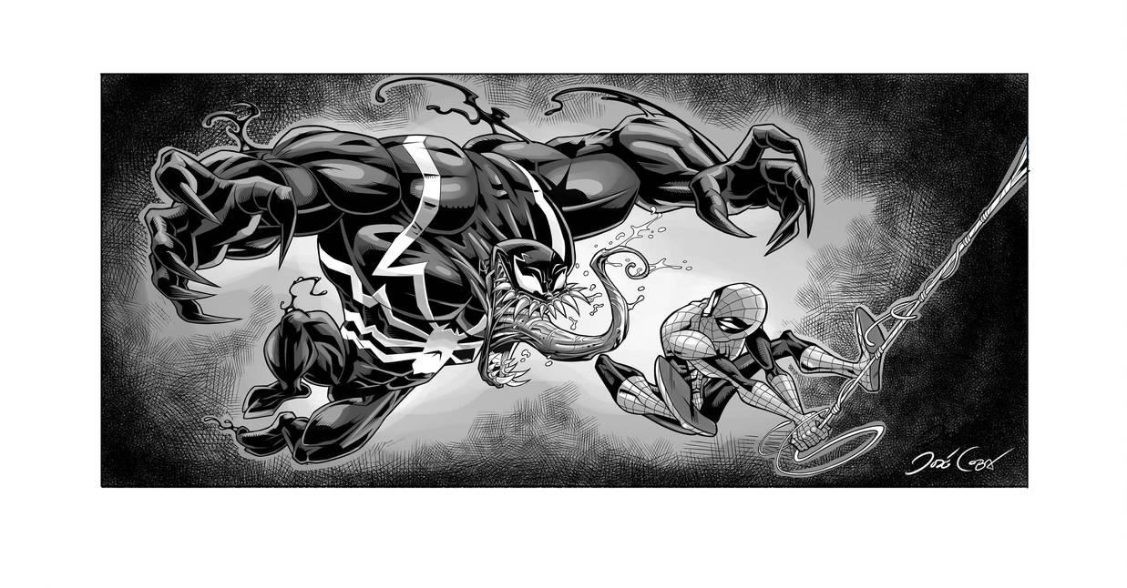 Spiderman VS VENOM Inks by VdVector