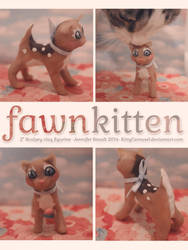 Fawn Kitten Sculpey Figurine by KittyCarousel