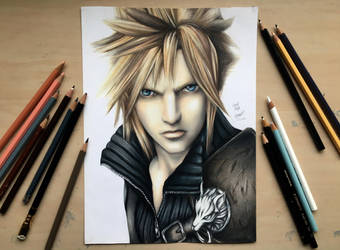 Cloud Strife- drawing by Polaara