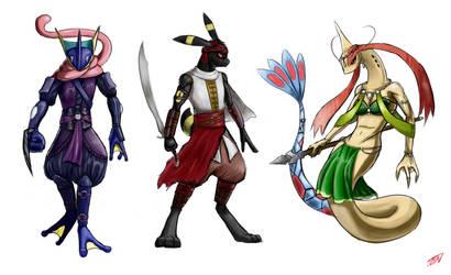 Some Anthropomorphic Pokemon :P by SleepingEel