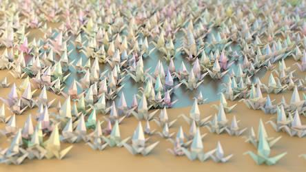 Wallpaper 1000 origami cranes by hoschie