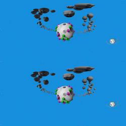 Little green Takochu planet VR stereoscopic 360 by hoschie