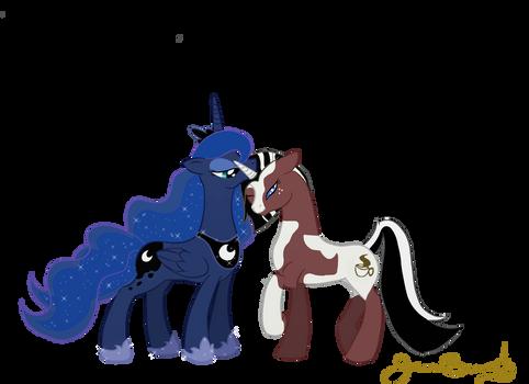 Princess Luna and Java by HalcyonNoctem