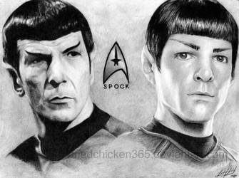 Mr. Spock: Nimoy + Quinto by friedChicken365