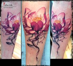 Watercolor lotus tattoo by ellegottzi