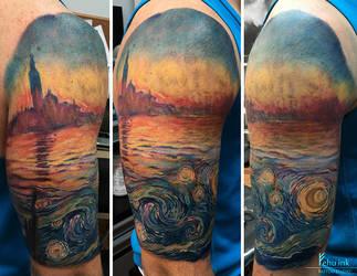 Van Gogh meets Monet tattoo by ellegottzi