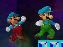 Ice Mario :: Ice Luigi by Steelia