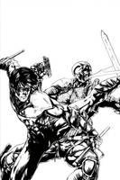 Nightwing vs Deathstroke by kelbykross