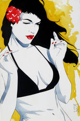 Bettie Page Yellow by mdelecki