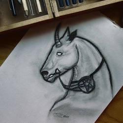 Unicorn pentagram by LedVampire