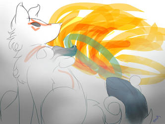 30 MINUTE SKETCH #1- Amaterasu by lainypen
