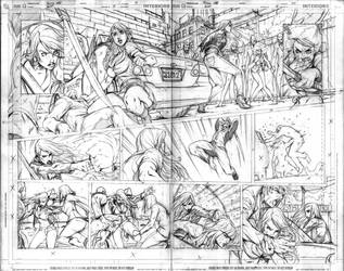 Birds Of Prey 5 pg 18-19 - RAW by alvinlee