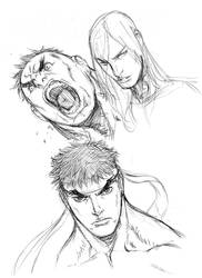 Quick Sketches - Ryu, Hulk and Remy by alvinlee