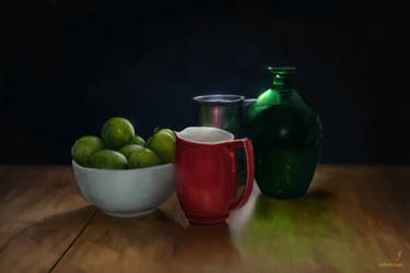 Still Life with Greengages by TobyFoxArt