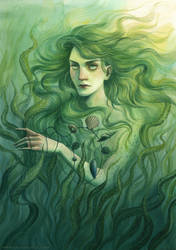 Selkie gathering shells by NatasaIlincic