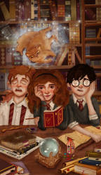 Harry, Ron and Hermione. by salvi-burton