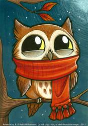 Tiny owl is PLEASED with scarf by Katie-W