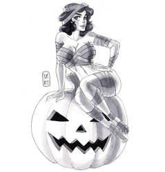 Pin-up Inktober day 31: Halloween by TheArtOfVero