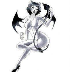 Pin-up Inktober day 27: Devil by TheArtOfVero