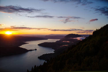 sunset on lake of Annecy by Jophotographie