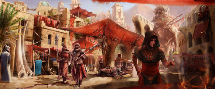 The Umbar Market, Harad by DireImpulse