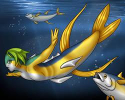 Open Ocean Mermaid, Golden Queen of the Sea by Nine-Tailed-Fox