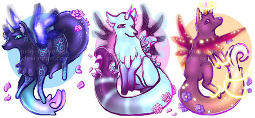 OPEN AUCTION - Unicorn Galaxy Flower Foxes by Nine-Tailed-Fox