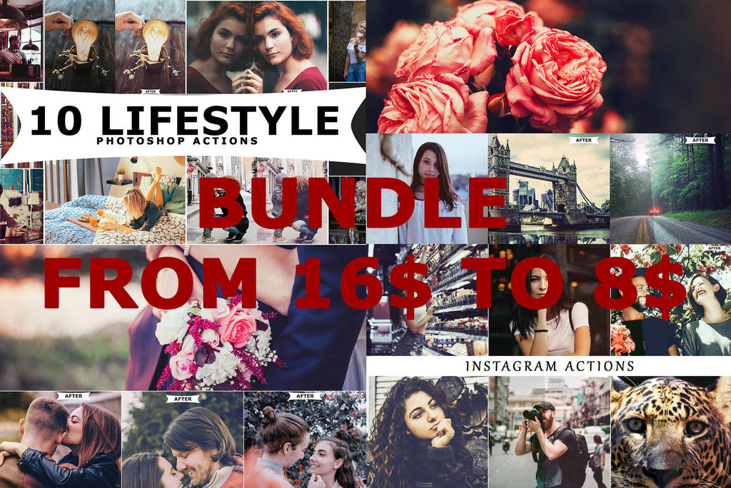 4 IN 1 Photoshop Actions Bundle June by ViktorGjokaj
