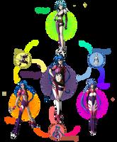 Hexafusion - Jinx, Klang Klan, Rei Ayanami by RobertFiddler