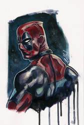 Quick Deadpool acrylic sketch :) by Bella-Rachlin