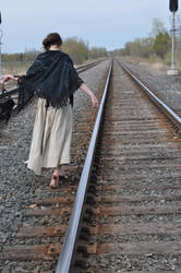 Steampunk Random Stock: Barefoot and Tracks I by kndrwllmsn