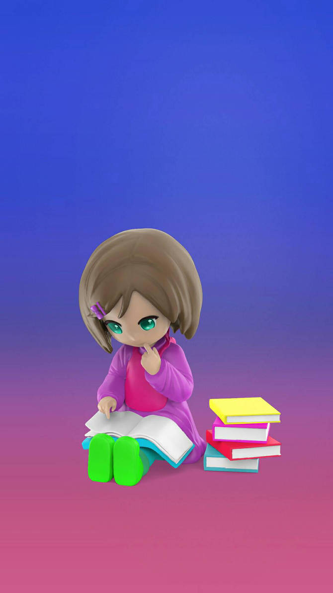 Cute chibi girl reading  by Libbyfirequeen