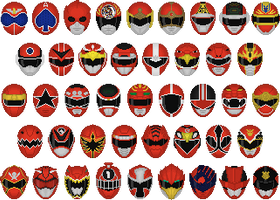 Super Sentai Red Helmets by Taiko554