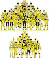 All Super Sentai and Power Rangers Yellows by Taiko554
