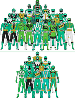 All Super Sentai and Power Rangers Greens by Taiko554